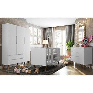 Quarto Infantil Completo Smart Retrô 3 Portas com Berço Colore Branco Acetinado - Fiorello