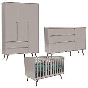 Quarto De Bebê 3 Portas Cômoda Com Porta Retro Clean Cinza Eco Wood - Matic