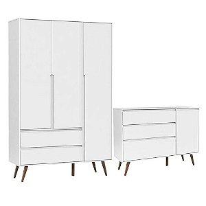 Comoda infantil Com Porta e Guarda Roupa 3 Portas Retro Clean Branco Acetinado Eco Wood - Matic