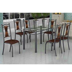 Conjunto de Mesa Tampo de Vidro e 6 Cadeiras Tubular Italía