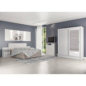 Guarda Roupa Bavaria 2P2G em Mdp Cor Flex Branco Brilho / 3D Branco Brilho+Branco Brilho - Atualle Móveis