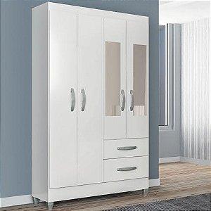 Guarda Roupa Real 4P2G C/Espelho Mocaccino Rústico / Natura Off White - Atualle Móveis