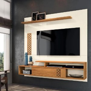 Painel Home Suspenso para TV até 65 Polegadas Sala de Estar Bless New Off White/Coral - Frade Movelaria