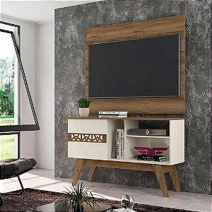 Rack Bancada com Painel para TV até 42 Polegadas Smart Canela/Off White - Frade Movelaria