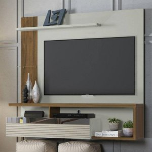 Painel para TV Linea Tijuca - Off White/Nogueira