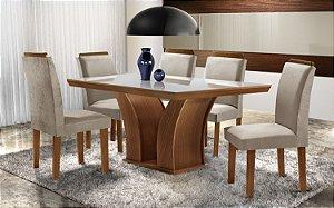 Conjunto Mesa De Jantar Com 6 Cadeiras  Retangular Leblon  - LJ Móveis