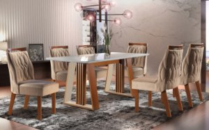 Conjunto Mesa de Jantar com 6 Cadeiras - Luxo - Deli - LJ Móveis