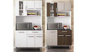 Cozinha Compacta Poliman Móveis Carol com 6 Portas e 1 Gavetas