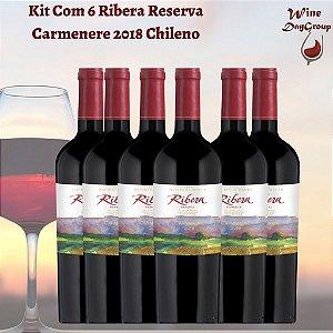 Kit Com 6 Ribera Reserva Carmenere 2018 Vinho Chileno
