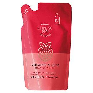 Refil Loção Hidratante Desodorante Corporal Cuide-se Bem Morango e Leite, 400ml