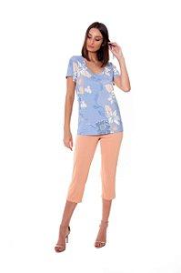 Pijama Capri com Manga Curta 42 Serena Paulienne