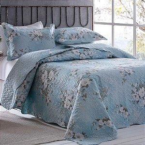 Colcha Bouti King Floral Azul Rozac
