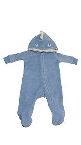 Macacão Inverno com Capuz 3 a 6 Meses Tubarão Azul Camesa