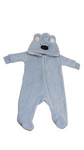 Macacão Inverno com Capuz 3 a 6 Meses Urso Azul Claro Camesa