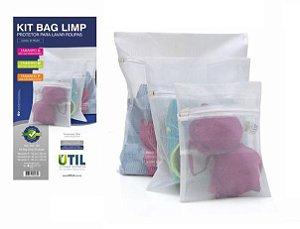 KIt com 3 Sacos para Lavar Roupa na Máquina P, M e G Bag Limp Util