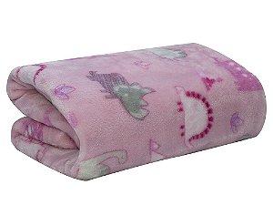 Cobertor Baby Dino Flanel Rosa - Camesa