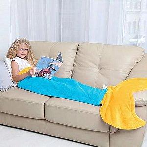 Manta Saco de Dormir Sereia Azul Bouton