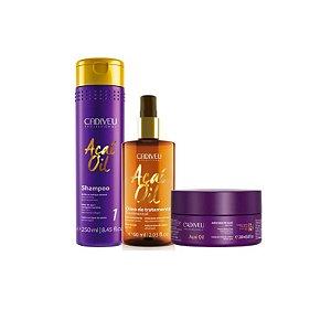 Cadiveu Kit Açaí Oil 3 produtos (shampoo+óleo+máscara)