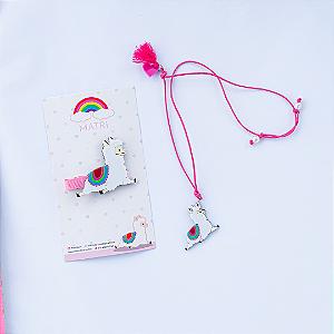 Kit Lhama MATRI (Hairclip + Colar)
