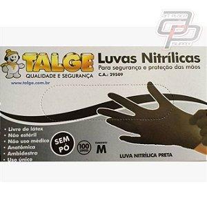 Luva Nitrílica Preta Caixa com 100 Unidades - Talge