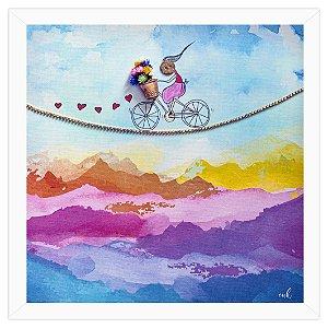 Menina na Bicicleta - Quadro 30x30cm