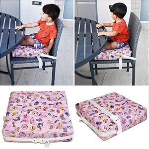 Assento Almofada de Elevação Infantil Criança - Estampa Unicórnio Rosa