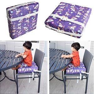 Assento Almofada de Elevação Infantil Criança - Estampa Unicórnio Lilás