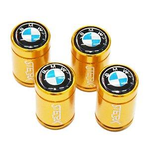 Kit Bicos de Válvula de Pneu Tampa Roda Carro BMW Sterk - Dourado