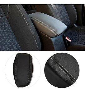 Capa Forro Acolchoado Apoio Descansa Braço Gm Chevrolet Onix Plus - Preto com Costura Cinza