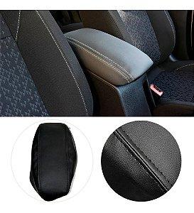 Capa Forro Acolchoado Apoio Descansa Braço Gm Chevrolet Onix Plus - Preto com Costura Preta