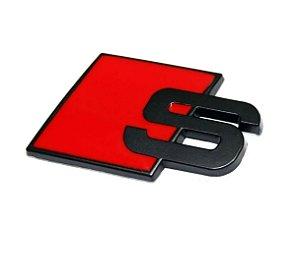 Emblema Audi S Line S-line para Tampa Traseira Porta-malas Preto