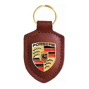 Chaveiro Automotivo de Couro Porsche - Marrom