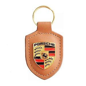 Chaveiro Automotivo de Couro Porsche - Caramelo