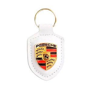 Chaveiro Automotivo de Couro Porsche - Branco