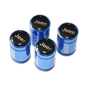 Kit Bicos de Válvula de Pneu Tampa Roda Carro Jeep Sterk - Azul