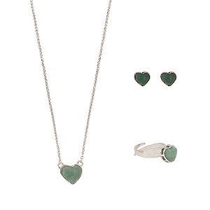 Conjunto Coração Mineral P  Quartzo Verde