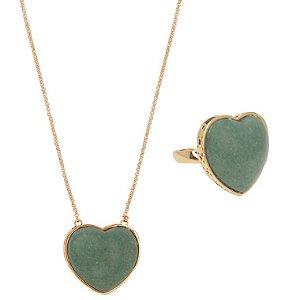 Conjunto Coração Mineral M  Quartzo Verde