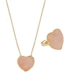 Conjunto Coração Mineral G Quartzo Rosa