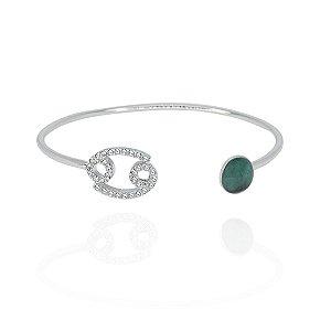 Bracelete Signo Câncer Esmeralda