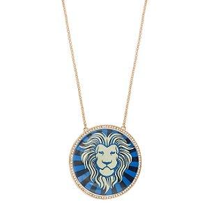 Colar Leão Lupa Azul G