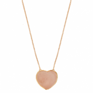 Colar Coração Pedra G Quartzo Rosa