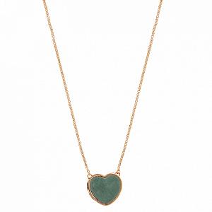 Colar Coração Pedra M Quartzo Verde