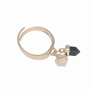 Anel Petit Pingente Proteção Obsidiana e Cristal de Quartzo
