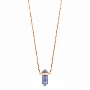 Colar Mini Prisma Quartzo Azul