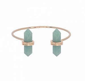 Bracelete Prisma Duplo Quartzo Verde