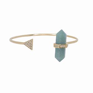 Bracelete Prisma Triângulo Quartzo Verde