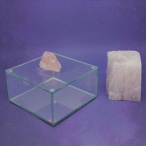 Caixa de Pedra Bruta G Quartzo Rosa