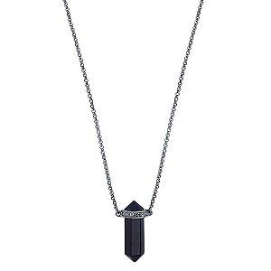 Colar Mini Prisma Unissex Obsidiana