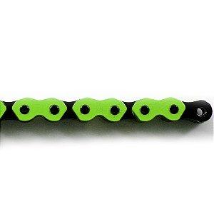 """Corrente Kmc K-710 Trendy 1/2""""X1/8"""" Bmx 114L Verde e Preta"""