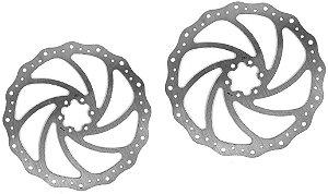 Kit 2 Disco / Rotor Freio Bike 203mm Winzip Ondulado 6 Furos